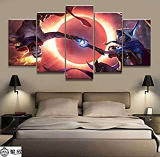 artwu League of Legends Xayah Rakan Wall Art Home Wall Decorations for Bedroom Living Room Oil Paintings Canvas Prints -516