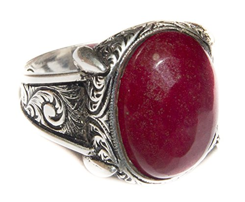 Falcon Jewelry Sterling Silver Men's Ring Handmade, Ruby Natural Gemstone