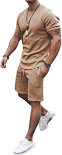 2 Piece Men's Summer Tracksuit, Short Sleeve Clothing Set, T-Shirt Top + Drawstring, Elastic Waist Shorts, Teen Boy Quick ...