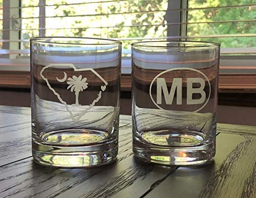 Myrtle Beach Rocks Glasses- Two Myrtle Beach Glasses - Myrtle Beach Gift - South Carolin - Barware - MB - Myrtle Beach Golf