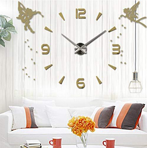 Wandklokgrote Wandklok Quartz Grote Decoratie Keukenklok Acryl Spiegel Sticker Engel Oversized Wandklok Woondecoratie Cadeau
