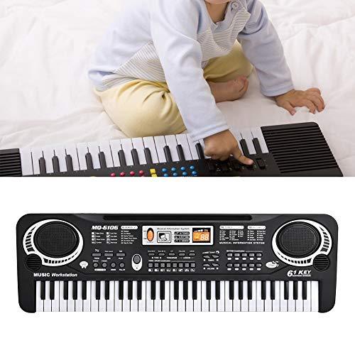 Jingyi Piano eléctrico, 61 Teclas Teclado Digital eléctrico Piano Instrumentos Musicales Juguete para niños con micrófono Enchufe de la UE, Piano eléctrico con micrófono