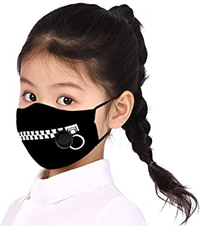 Unisex Children's Mask Funny Cute Print Dustproof PM2.5 Face Mask with Breathing Valve Reusable Mask Cover (Black U)