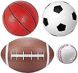 Balles de sport Set 6 'Soccer 6' Basket-ball 8.5 'Rugby 3' baseballs Extérieur Bureau Aire de jeux de plage pour la piscine Porte Basketballs Cerceaux Garçons Filles Bambins Adultes Pompe à air