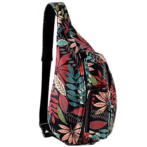 Unisex Sling Bag Travel Chest Pack Multipurpose Casual Rope Crossbody Backpack Daypack with Adjustable Shoulder Strap for Women Men Girls Boys (Maple Leaves)