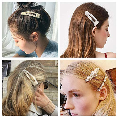 Pearl Hair Clips for Women 9 Pack Large Fashion Hair Barrettes Party Birthday Wedding Bridal Hair Clips 4
