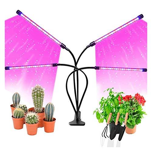 sdfkj Lámpara de Planta, Lámpara LED Cultivo de 4 Cabezales de Espectro Completo con 80 LED, Luz para Plantas de 9 Niveles Regulable y 360°Ajuste con Función de Temporizador, para Jardinería Bonsai