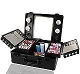 Kemier Borsa Makeup da Viaggio – Borsa Makeup con Organizer,Luci e Specchio Borsa Makeup con Divisori Personalizzati Ampio Kit Organizzatore per Truccatori … (Nero)