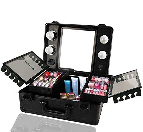 Kemier Makeup Train Case - Kosmetischer Organizer Makeup Case mit Licht und Spiegel/Makeup Case mit individuellen Teilern/Großes Makeup Artist Organizer Set (Black)