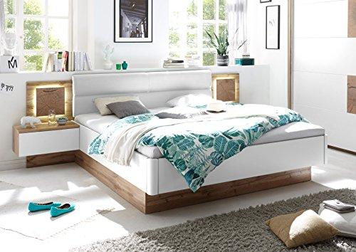 moebel-guenstig24.de Doppelbett Nachtkommoden Capri Bett Ehebett Schlafzimmer 180 x 200 weiß Wildeiche