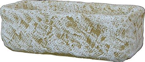 DEGARDEN Jardinera Rectangula Rústica Exterior Fabricada en hormigón-Piedra | Macetero Bebedero Decorativo Pila de Piedra Artificial Exterior Jardín 75X36X23cm. Ocre