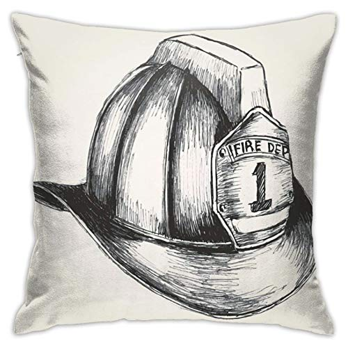 GULTMEE Fireman Throw Pillow Cushion Cover, Sketch Style Illustration a Firefighter The Fire Department, Decorative Square Accent Pillow Case, 18' X 18', Dark Grey