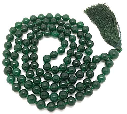 Pulsera Natural de ágata Verde 108 Collar de Mala   Ágata Verde Mala   108 Oración con Cuentas Collar de Mala   Anudadas a Mano Pulsera de Mala   Japa Mala   8mm Granos Redondos