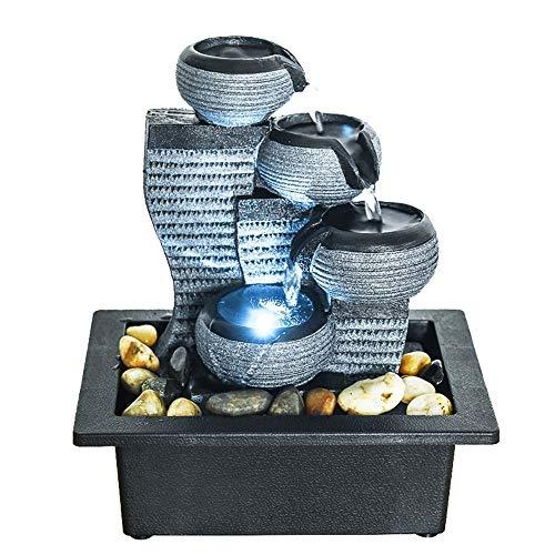 WATURE 4-stufiger Zimmerbrunnen Tischbrunnen mit LED-Lichtern - Entspannender und beruhigender Schall Wasserbrunnen für die Dekoration zu Hause oder im Büro (Grau, 26 cm)