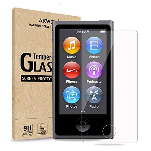 (Pack of 2) Screen Protector for iPod Nano 7 8th, AKWOX 0.33mm High Definition Clear Tempered Glass Screen Protector Guard Film for iPod Nano 8th/7 Generation,Shockproof and Scratch-Resistant