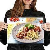 Póster de vinilo de destino, A4, impresión artística italiana de espagueti boloñés, 29,7 x 21 cm, 280 g/m², papel fotográfico satinado brillante #45417