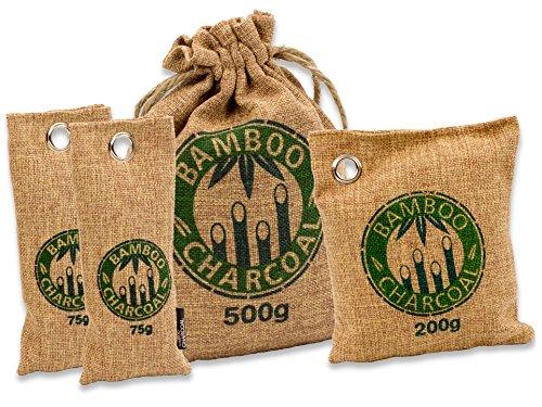 Natürlicher Bambus Lufterfrischer mit Aktivkohle – KochWunder Wunderkissen – Luftreiniger für Wohnzimmer, Küche, Schlafzimmer, Bad & WC, Auto UVM. Sparset - braun