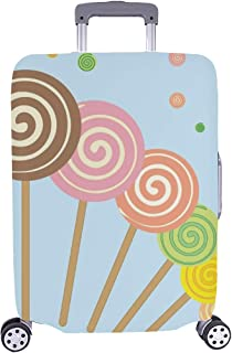 Abstract Vector Illustration Lollipops On Blue Pattern Spandex Trolley Case Travel Luggage Protector Suitcase Cover 28.5 X...