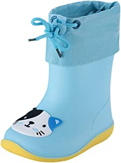 Ywoow Toddler Infant Kids Baby Boys Girls PVC Rain Boots Waterproof Non-Slip Shoes
