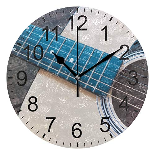 SENNSEE - Orologio da Parete a Forma di Chitarra Musicale, Stile retrò, Decorativo, per Soggiorno, Camera da Letto, Cucina, Funzionamento a Batteria