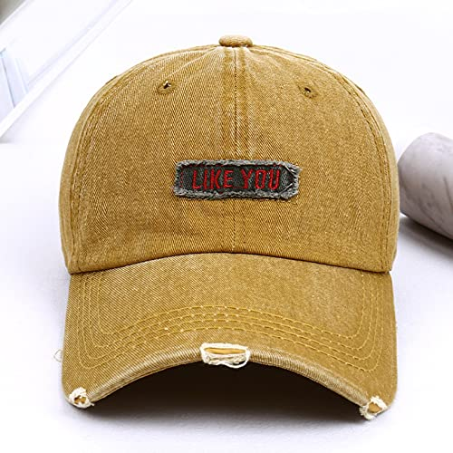 Gorra béisbol Hiphop Sun Hat Snapback Gorra de béisbol bordada de mezclilla Moda para mujer Gorras lavadas con microdermoabrasión Aleros doblados para hombres que cubren la cara Sombrero para el sol