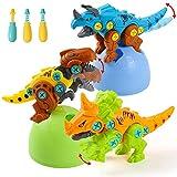 Dinosauro Giocattolo per Bambini - 3PC Costruzioni Uova Dinosauri Giocattoli con Trapano Giocattolo Tyrannosaurus Rex, Velociraptor e Triceratops Pasqua Regalo per Bambini 3 4 5 6 Anni