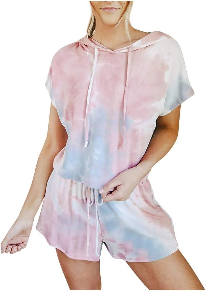 Tie Dye Pajamas for Women,Womens Short Sleeve Hoodie Sof 2 Piece Lounge Pajamas Set Nightwear Sleepwear Loungewear
