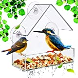 Patelai Clear Acrylic Window Bird Feeder Wild Bird Feeder Bird Feeder Hanging Triangle Hanging Bird House Including Strong Suction Cups and Seed Tray for Indoor Bird Watching Garden Decoration