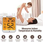 ThermoPro Indoor Hygrometer Humidity Gauge Indicator Digital Thermometer Room Temperature and Humidity Monitor with… 12 【Upgraded version - Touch Sensitive Hygrometer】Our Hygrometer Thermometer features a touch backlight button located on the bezel, making it easier to activate and light up the screen in dark conditions 【Air Comfort Indicator】Humidity meter shows the comfort level of your home, based on current humidity level, always be aware of your home conditions 【MAX & MIN Records】Humidity Monitor with Indoor Thermometer stores and displays All time/24 hours MAX & MIN humidity and temperature records