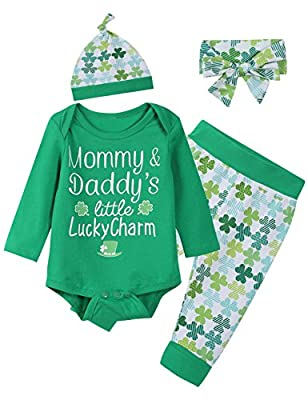 Baby Boys Girls Cute ST Patrick's Day Outfit Clover Pants Headband with Hat(12-18 Months) Green