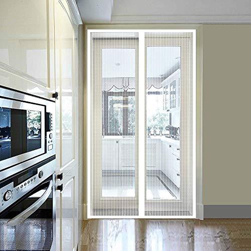 WISKEO Fliegengitter Mit Rahmen Ohne Bohren Magnet Fliegenvorhang Verschiedene Größen MüCkenschutz Wohnzimmer - Weiß 180x240CM