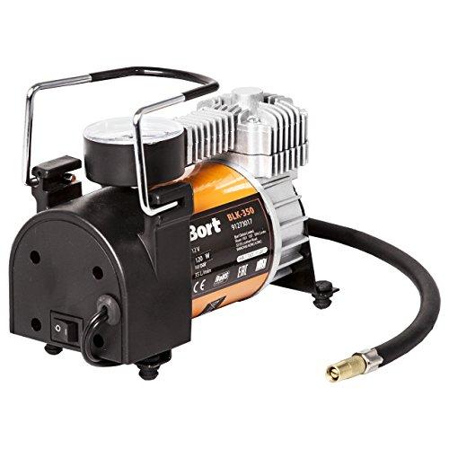 Bort BLK-350 Compressore aria per auto. 12 V, 35 L/Min, 120 W, connessione tramite accendino, include 3 adattatori aggiuntivi.