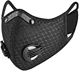Irisvito Dustproof Mask Activated Carbon Filtration Exhaust Gas Anti Pollen Allergy PM2.5 for Workout Running Motorcycle Cycling Mask Face Shield (Black)
