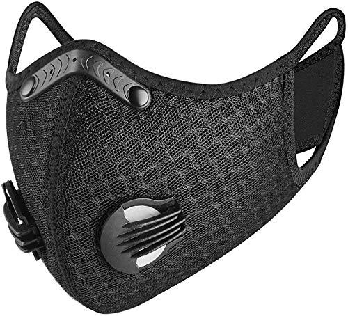 Landgift Sport Mask Reusable Activated Carbon Dustproof Respirator Mask Respirator Activated Carbon Sports Mask Filter Bicycle Mask Mountain Bike Riding Mask (Black-1)