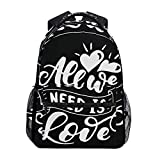 Yuanmeiju Mochilas,All We Need is Love Mochila,Fashionable Travel Bags for Outdoor Travel,40cm(H) x29cm(W)