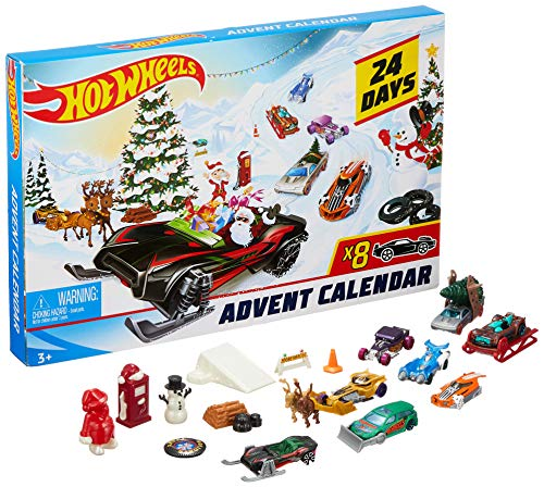 Hot Wheels FYN46 Adventskalender 2019 met 8 auto's en 16 accessoires Adventskalender. wit