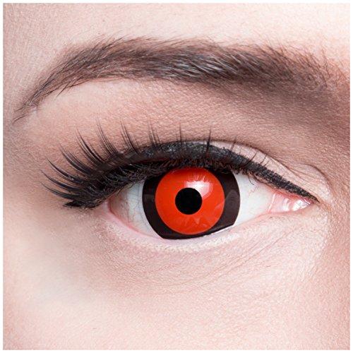 """Farbige Funnylens rote Mini Sclera \""""Blood Cell\"""" Kontaktlinsen Lenses inkl. 60 ml Pflegemittel und Behälter, weich ohne Stärke, 2er Pack - Top-Markenqualität, angenehm zu tragen und perfekt zu Halloween, Fasching und Karneval"""