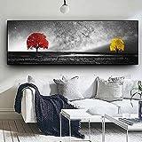 Carteles de pintura de paisaje en blanco y negro Impresiones Árbol rojo amarillo Arte de pared minimalista creativo Cuadros en lienzo para sala de estar 40x120cm (16x47in) Sin marco