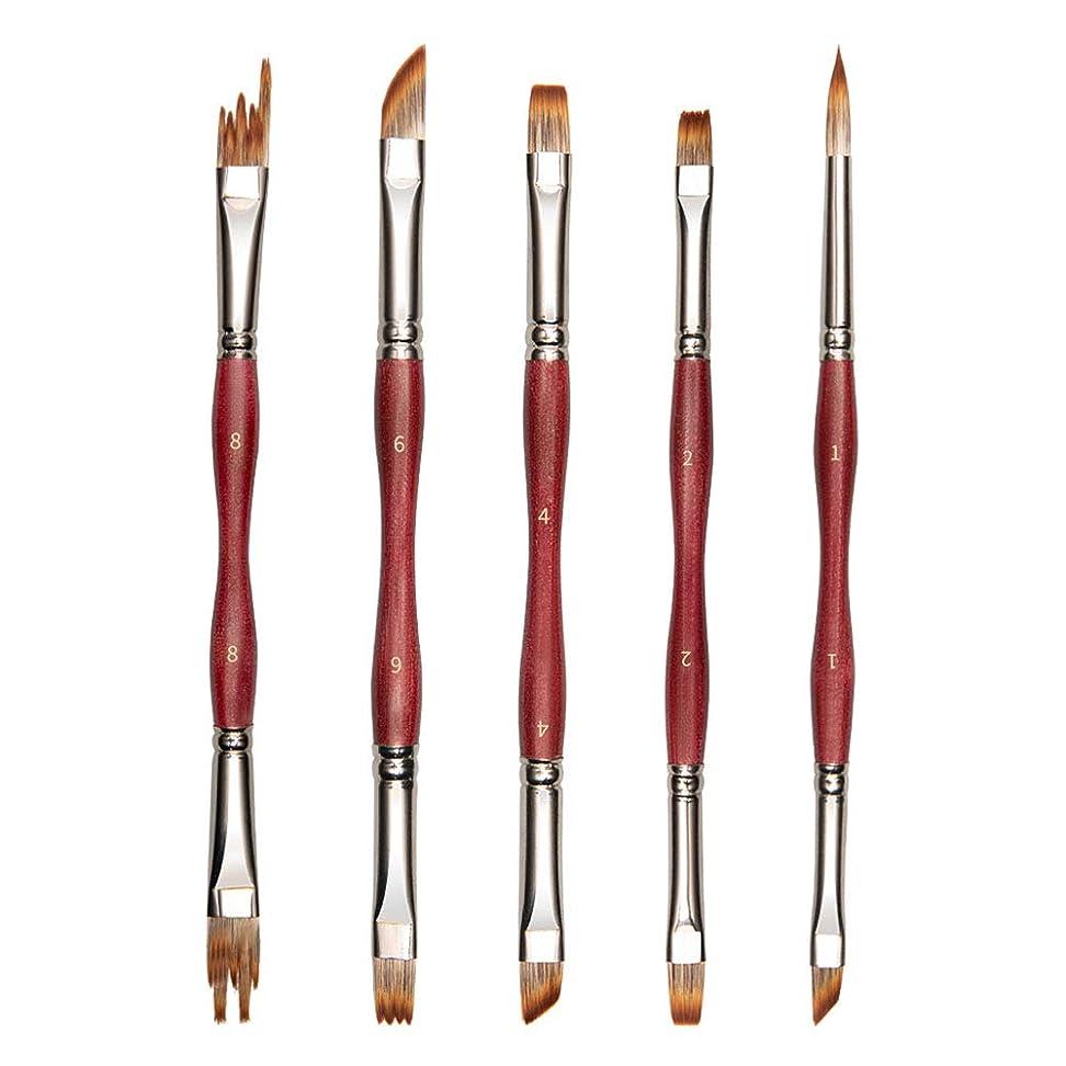 スカリー溶かす大人筆 ペイントブラシ 油絵筆セット 両毛先デザイン 10種類のことなる形状 多用途 5本セット