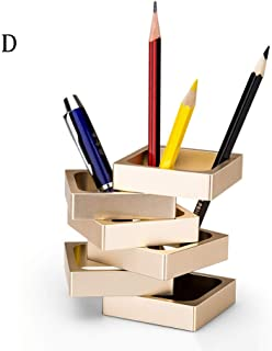 Pen Holder - Aluminum Alloy Pen Holder, Creative High-Grade Metal Pen Holder, Fashion Office Pen Holder Decoration (Color : D)