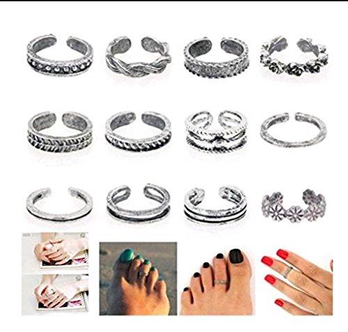 AJOYCN Zehenring, 12 Stück/Set, Frauen Schmuck, Retro, verstellbar, offene Füße, Ring für Finger und Fuß