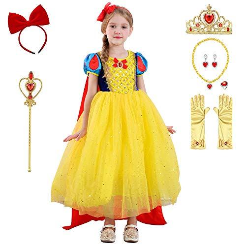 IMEKIS - Disfraz de princesa blanca para nias con lentejuelas, vestido de Navidad, carnaval, tut de tul para cumpleaos, fiesta festiva + capa + accesorios, 9 piezas