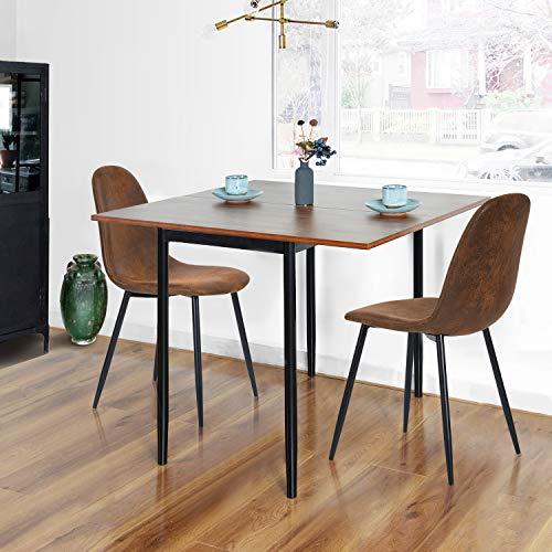 Furnish 1 Mesa de Comedor 45-90 * 90 * 76 CM + 2 sillas Marrones Vintage 43 * 55 * 86 CM Mesa de Cocina Rectangular Extensible de Haya Oscura, Trabajo Remoto