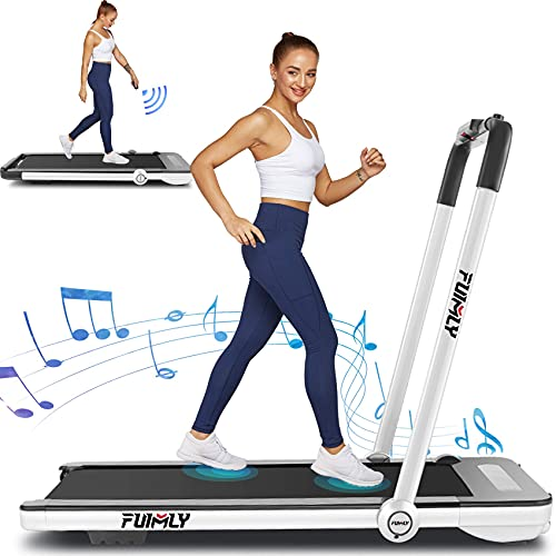 Treadmills for Home,Under Desk Folding Treadmill,2-in-1 Running,Walking &Jogging Portable Running Machine with Bluetooth Speaker & Remote Control,5 Modes & 12 Programs,No Assembly Required.