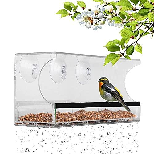 YANGLOU-Reloj de bolsillo- Alimentador de aves de ventanas con 3 tazas de succión súper fuertes extraíbles Bandeja de semillas extraíbles agujeros de drenaje de clara fuerte 11,8 x 5 pulgadas Idea de