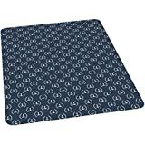 Navy Blue Office Chair mat, Marine Icons Laurus Nobilis Design Diagonal Arrangement Maritime Abstract, 35' by 47' Chair Mat Protector for Hard Floors