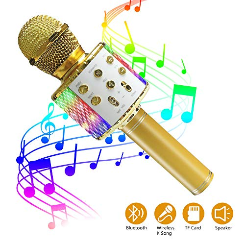 ZMLM Wireless Bluetooth Karaoke Microphone for Kids with LED Light - 5 in 1 Portable Handheld Karaoke Speaker Microphone Machine Home KTV Player Music Record for Smartphone Birthday Home Party (Gold)