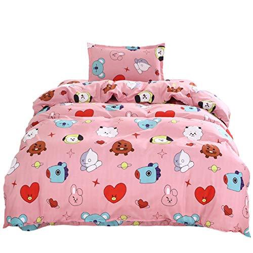 Dadahuam Für BTS Umgebung Kugelsichere Jugendgruppe Dreiteilige Bettwäsche Bettbezug Baumwolle Bettwäsche Niedlichen Koreanischen Stil Umwelt Druck BTS Bettwäsche 150x200cm