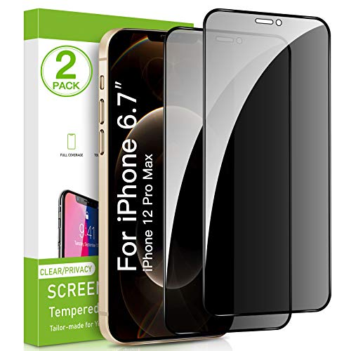 privacy screen protectors Intermerge 2 Pack Privacy Screen Protector for iPhone 12 Pro Max, Premium 4D Curved Edge to Edge Full Coverage Privacy Tempered Glass Screen Protector for Apple iPhone 12 Pro Max