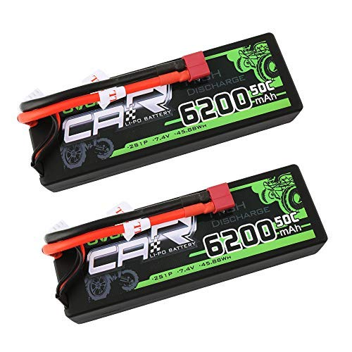 OVONIC 7.4V 50C 6200mAh 2S RC Lipo Battery Hardcase with Deans Connector for RC Vehicles Car Truck Truggy Boat(2 Pack)